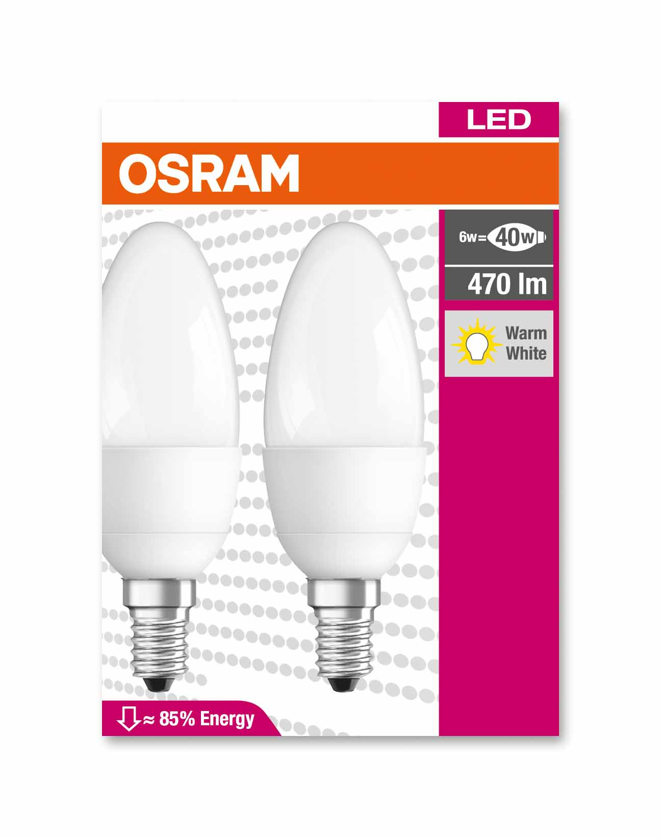 Набор ламп LED Osram Star CLB40 6W/827 FR E14 2700K