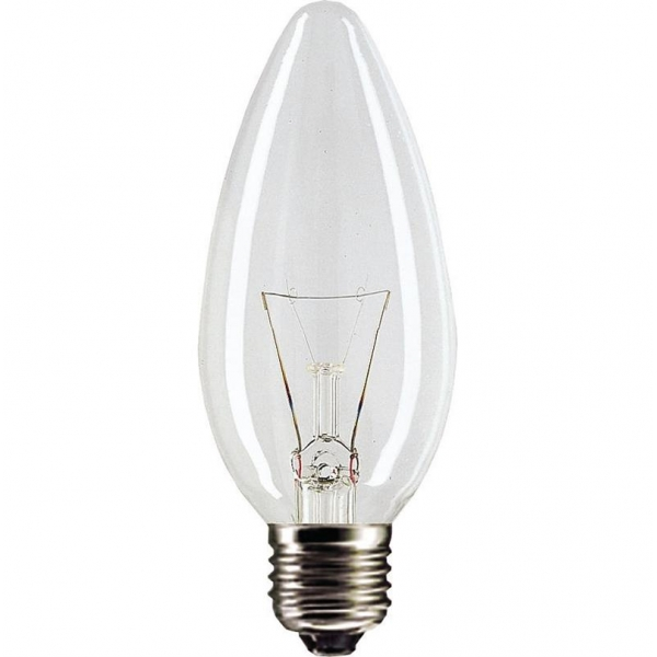 Лампа накаливания Philips E27 60W 230V B35 CL 1CT/10X10F