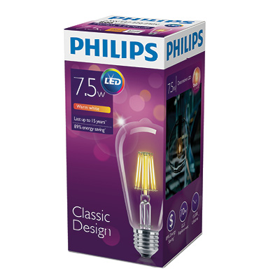 Лампа Philips LED Fila 7,5 - 70W E27 WW ST64 ND